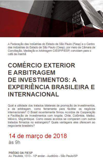 """Café da Manhã """"Comércio Exterior e Arbitragem de Investimentos: a Experiência Brasileira e Internacional"""""""
