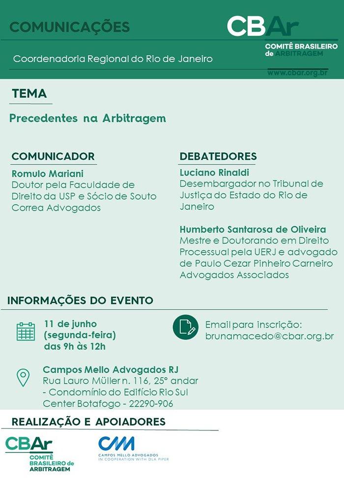 3ª Comunicação CBAr - Rio de Janeiro Precedentes na Arbitragem