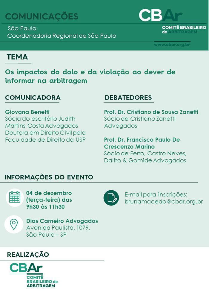 Comunicação CBAr – São Paulo: Os Impactos do Dolo e da Violação ao Dever de Informar na Arbitragem