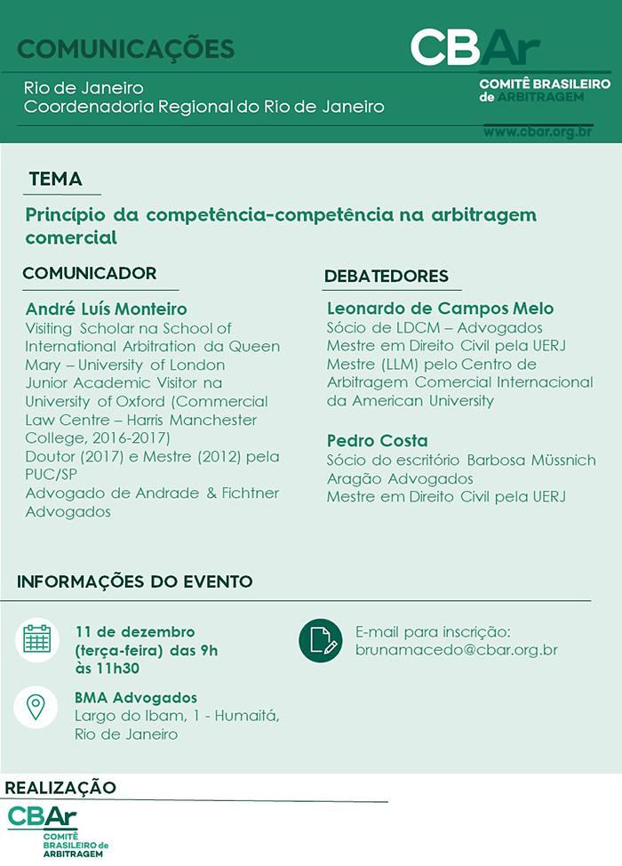 Comunicação CBAr – Rio de Janeiro: Princípio da Competência-Competência na arbitragem comercial