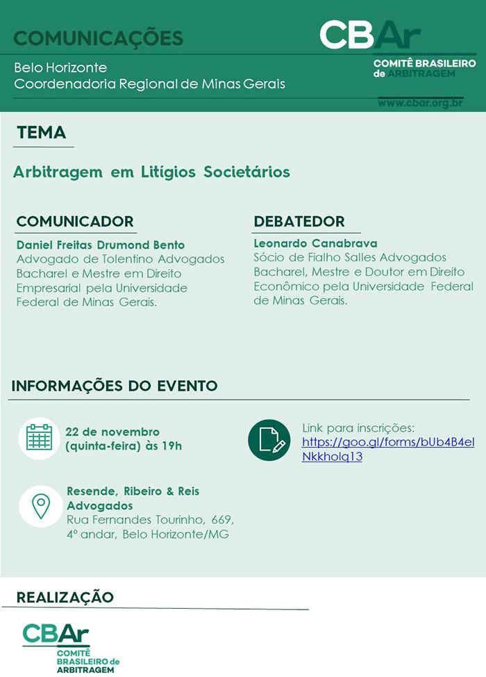 Comunicação CBAr – Belo Horizonte: Arbitragem em Litígios Societários