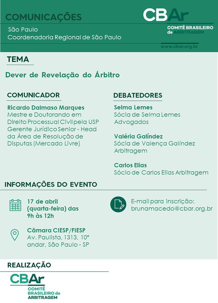 Comunicação CBAr – São Paulo: Dever de Revelação do Árbitro