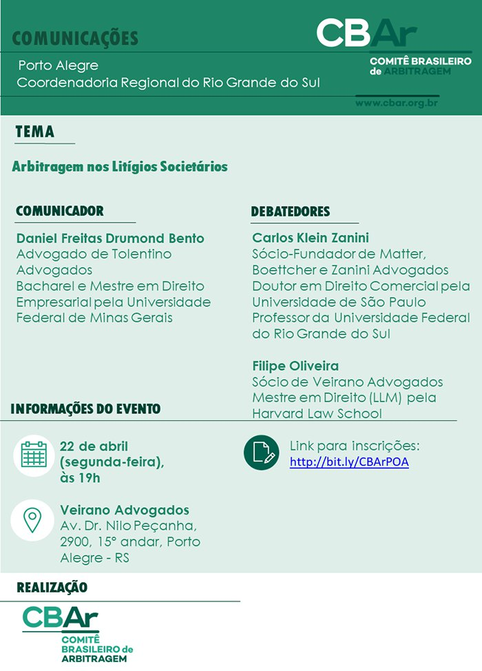Comunicação CBAR – Porto Alegre: Arbitragem nos Litígios Societários