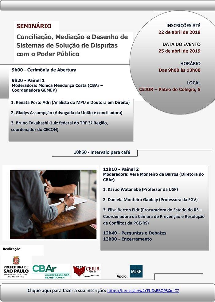 """Seminário """"Conciliação, Mediação e Desenho de Sistemas de Solução de Disputas com o Poder Público"""""""