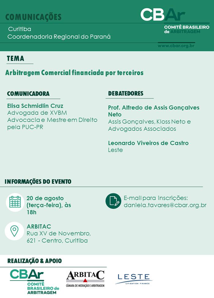 Comunicação CBAr – Curitiba: Arbitragem comercial financiada por terceiros