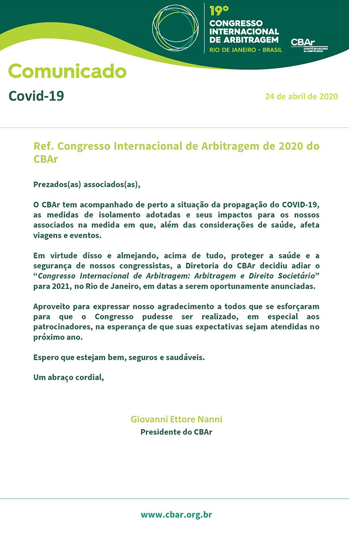Comunicado oficial do CBAr sobre o 19° Congresso Internacional de Arbitragem, diante do cenário ocasionado pela pandemia do COVID-19
