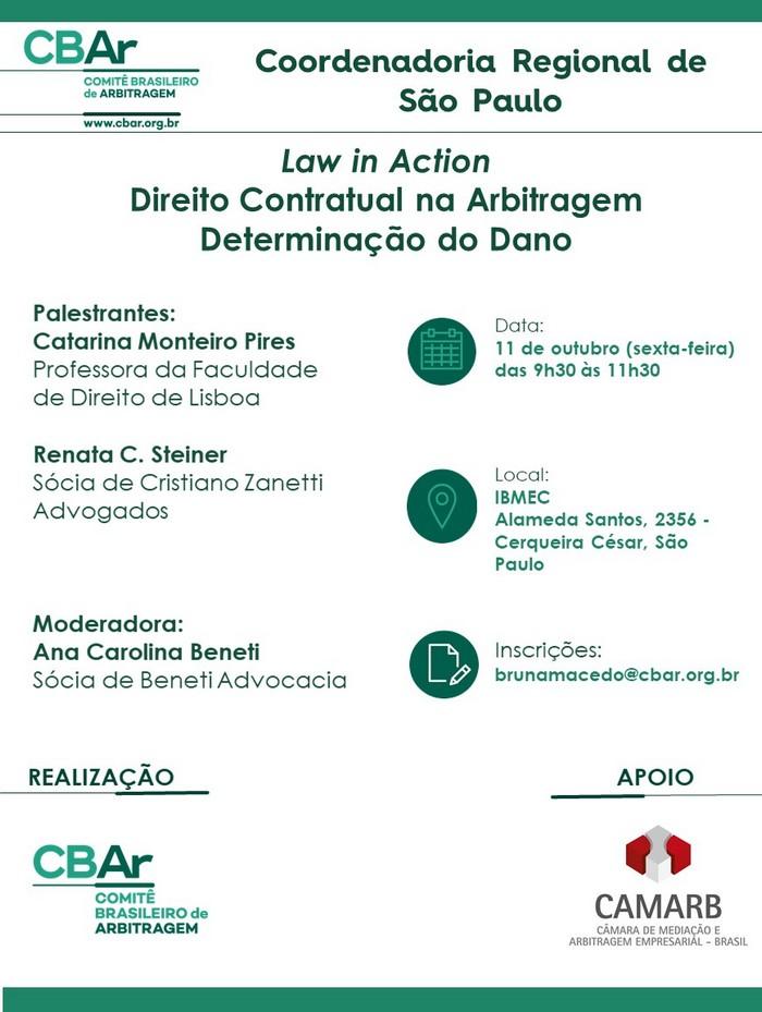 Comunicação da Coordenadoria Regional de São Paulo - Law in Action, Direito Contratual na Arbitragem e Determinação do Dano