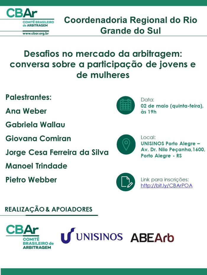 Comunicação da Coordenadoria Regional do Rio Grande do Sul - Desafios no Mercado da Arbitragem: conversa sobre a Participação de Jovens e de Mulheres